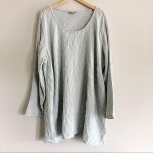 Flax Gray Effortless Tunic Long Sleeve Top 1X 1G
